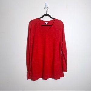J. Jill Red Slub Knit Tunic Vneck Long Sleeve